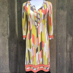 London Times Retro Color Block Midi Dress Sz 4